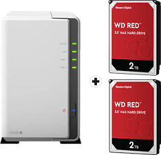 SYNOLOGY DiskStation DS220j mit 2x 2TB WD Red NAS (HDD) - NAS (HDD, 4 TB, Weiss)