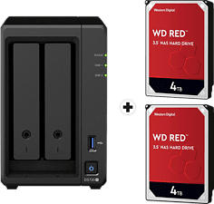 SYNOLOGY DiskStation DS720+ con 2x 4TB WD Red NAS (HDD) - Server NAS (HDD, SSD, 8 TB, Nero)