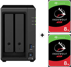 SYNOLOGY DiskStation DS720+ con 2x 8TB Seagate IronWolf NAS (HDD) - Server NAS (HDD, SSD, 16 TB, Nero)