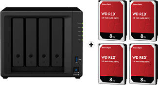 SYNOLOGY DiskStation DS920+ con 4x 8TB WD Red NAS (HDD) - Server NAS (HDD, 32 TB, Nero)