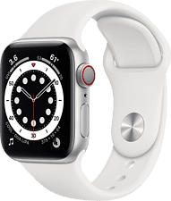 APPLE Watch Series 6 (GPS + Cellular) 40 mm - Smartwatch (130 - 200 mm, Fluoroelastomero, Argento/Bianco)