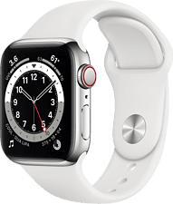 APPLE Watch Series 6 (GPS + Cellular) 40 mm - Smartwatch (130 - 200 mm, Fluorelastomer, Silber/Weiss)