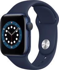 APPLE Watch Series 6 (GPS) 40 mm - Smartwatch (130 - 200 mm, Fluorelastomer, Blau/Dunkelmarine)