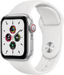 MediaMarkt APPLE Watch SE (GPS + Cellular) 40 mm - Smartwatch (130 - 200 mm, Fluoroelastomero, Argento/Bianco)