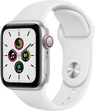 APPLE Watch SE (GPS + Cellular) 40 mm - Smartwatch (130 - 200 mm, Fluorelastomer, Silber/Weiss)