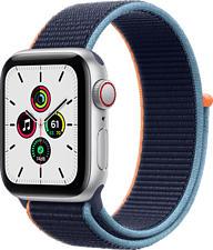 APPLE Watch SE (GPS + Cellular) 40 mm - Smartwatch (130 - 200 mm, Gewebtes Nylon, Silber/Dunkelmarine)