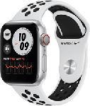 MediaMarkt APPLE Watch Nike Series 6 (GPS + Cellular) 40 mm - Smartwatch (130 - 200 mm, Fluorelastomer, Silber/Pure Platinum/Schwarz)