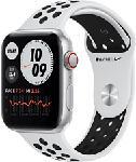 MediaMarkt APPLE Watch Nike SE (GPS + Cellular) 44 mm - Smartwatch (140 - 220 mm, Fluorelastomer, Silber/Pure Platinum/Schwarz)