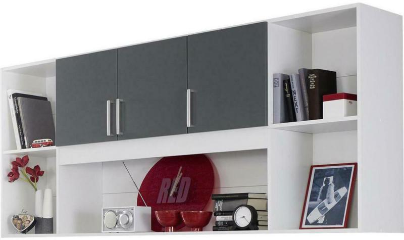 Regal mit Schranktüren Albero B 212cm, Weiß/Grau