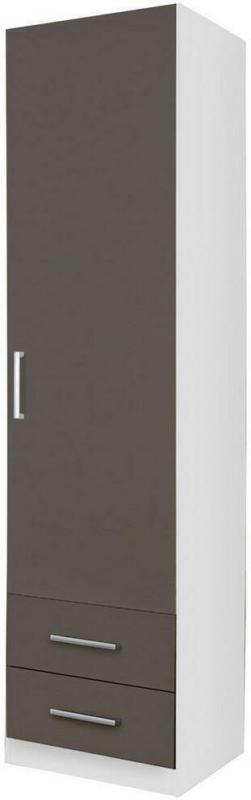 Drehtürenschrank mit Laden 47cm Albero, Weiß/Grau
