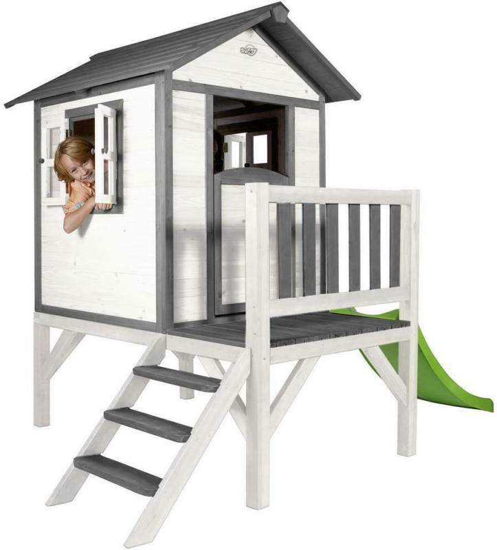 Stelzenspielhaus Holz mit Rutsche Weiß/ Grau Sunny Lodge