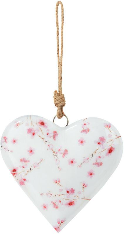 Großer Herz-Anhänger mit floralem Muster (Nur online)