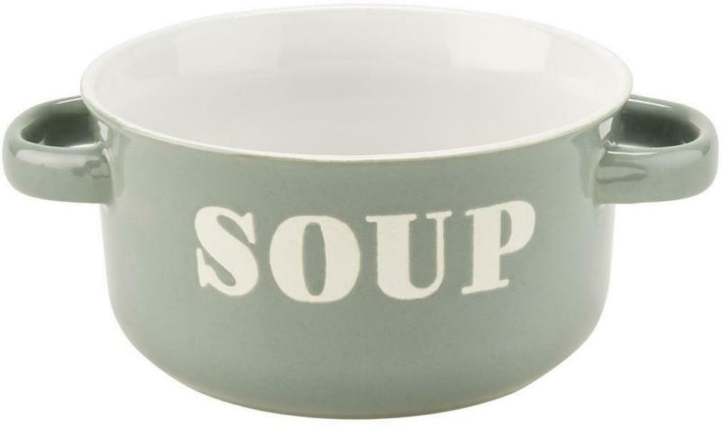 Suppenschüssel Keramik Grün/ Weiß Tivon D/H: 13/7 cm