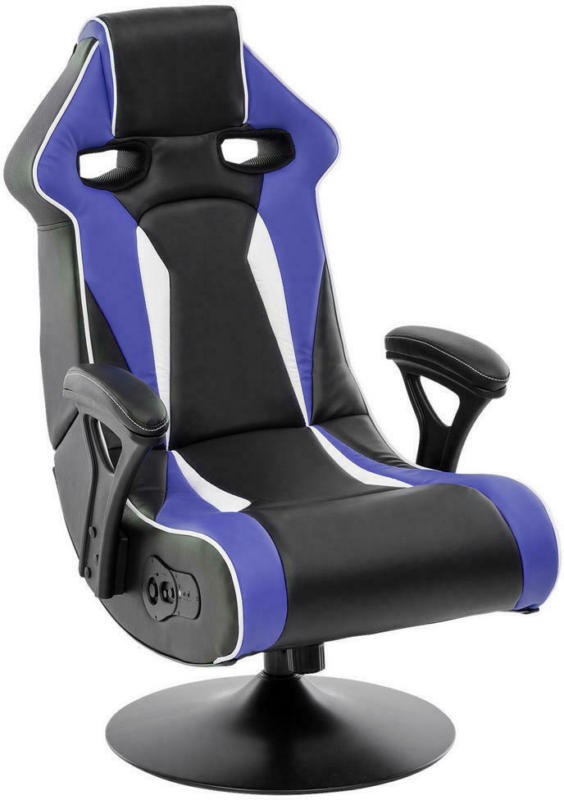 Gamingstuhl in Lederlook Blau, Schwarz, Weiß