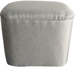 Hocker in Holz, Textil Grau