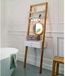 Kosmetik-Regal mit höhenverstellbarem Spiegel, ca. 55x28x178cm