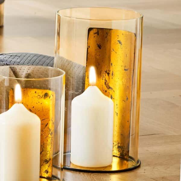 Kerzenhalter mit Platte in Gold-Optik, ca. 17x17x28cm