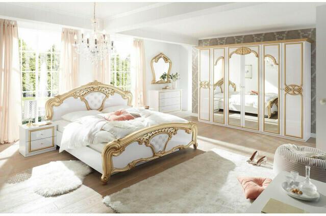 Kleiderschrank Hanna weiß/gold 280 cm
