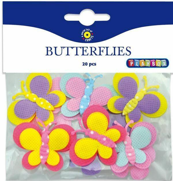 PLAYBOX Schmetterlinge aus Textil 20 Stück mehrere Farben