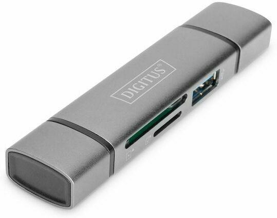 DIGITUS Dual-Card Reader Hub USB-C USB 3.0 silber