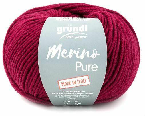 """GRÜNDL Wolle """"Merino Pure"""" 50g weinrot"""