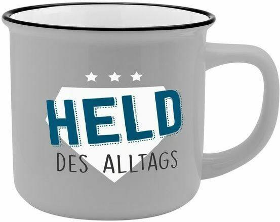 """Porzellantasse in Emailleoptik """"Held des Alltags"""" 0,35 Liter grau"""