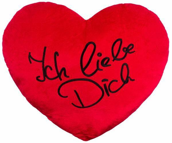 """Plüschherz """"Ich liebe dich"""" 60 x 45 cm rot"""