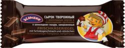 Frischkäseriegel mit Schokogeschmack und -stückchen in kakaohaltiger Fettglasur, tiefgefroren