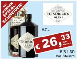 Hendricks Gin inkl. Gurgenspiralschneider