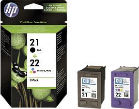 HP 21/22 Combo Pack, noir, cyan, magenta, jaune - Cartouche d'encre (Multicouleur)
