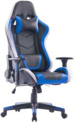 Gamingstuhl in Lederlook, Netzbespannung Blau, Schwarz, Weiß
