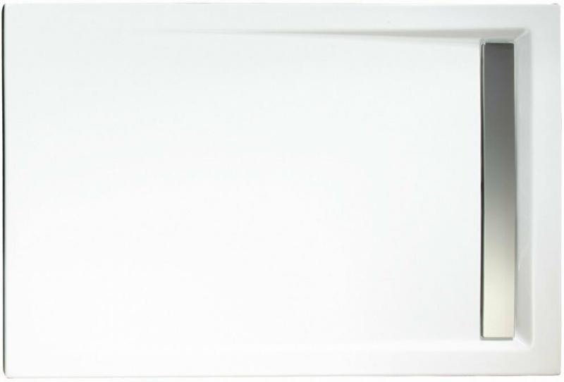 Duschwanne, Rechteck, extra flach, Rinne, 800x1200 mm, Chromoptik