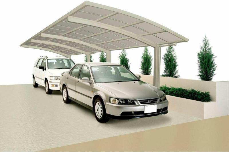 "Carport Alu ""Portoforte 80 Tandem"" Edelstahl-Look Edelstahl | 100 kg/m²"