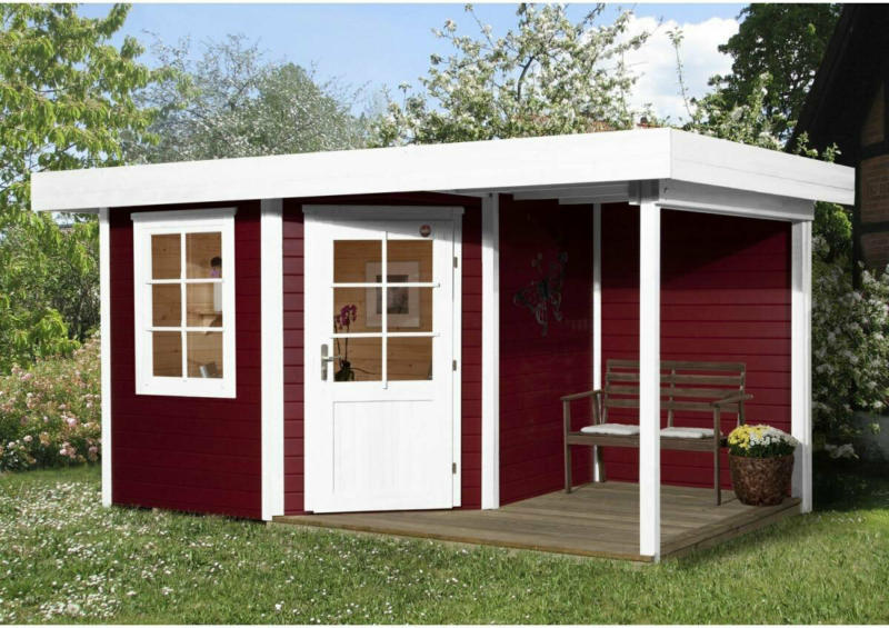 "Designhaus ""213 A"" mit Anbau 150 cm, 5-Eck, 396x238x237 cm, rot 396x238x237 cm   rot"