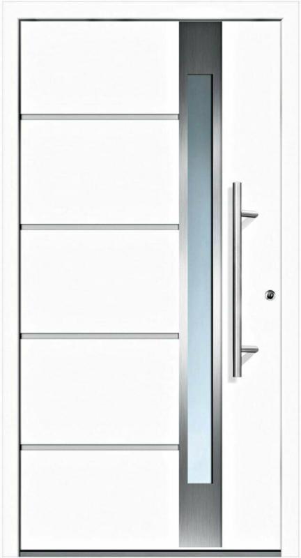 "Aluminium-Sicherheitshaustür ""Rom Superior"", 60 mm, weiß, 100x210 cm, Anschlag rechts, RC2-zertifiziert, inkl. Griffset rechts"
