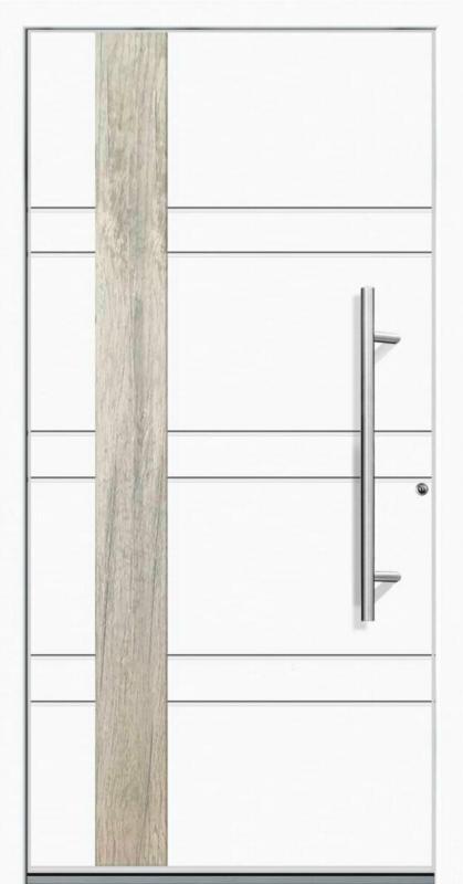 "Aluminium Sicherheits-Haustür ""Monza Superior"", 60mm, weiß, 100x210 cm, Anschlag rechts, inkl. Griffset 100x210 cm   rechts"