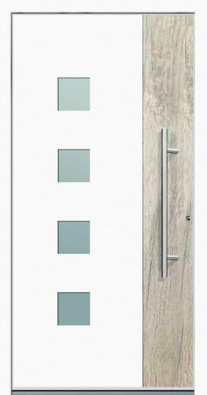 """Aluminium Sicherheits-Haustür """"Messina Superior"""", 60mm, weiß, 100x210 cm, Anschlag rechts, RC2-zertifiziert, inkl. Griffset rechts"""