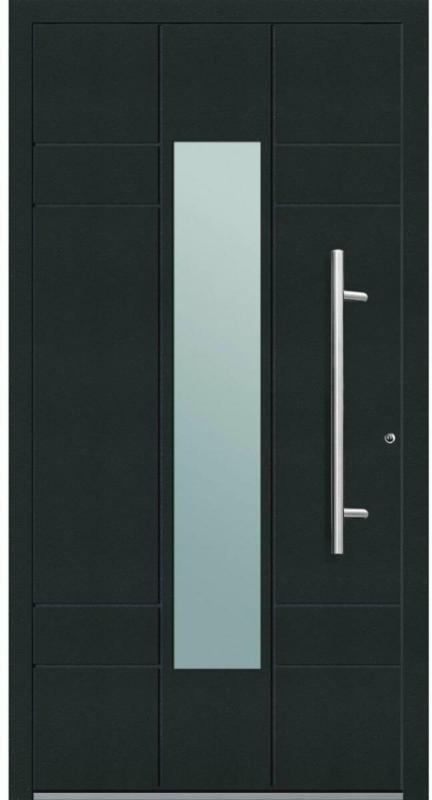 "Aluminium Sicherheits-Haustür ""Como Exklusiv"", 75mm, anthrazit, 100x210 cm, Anschlag rechts, inkl. Griffset 100 cm | rechts"
