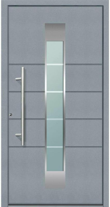 """Aluminium Sicherheits-Haustür """"Turin Superior"""", 60mm, grau, 110x210 cm, Anschlag links, RC2-zertifiziert, inkl. Griffset Links"""