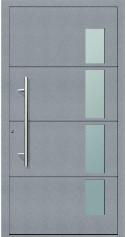 "Aluminium Sicherheits-Haustür ""Prato Exklusiv"", 75mm, grau, 100x210 cm, Anschlag links, RC2-zertifiziert, inkl. Griffset Links"
