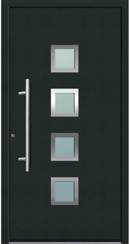 "Aluminium Sicherheits-Haustür ""Mailand Superior"", 60mm, anthrazit, 110x210 cm, Anschlag links, RC2-zertifiziert, inkl. Griffset Links"