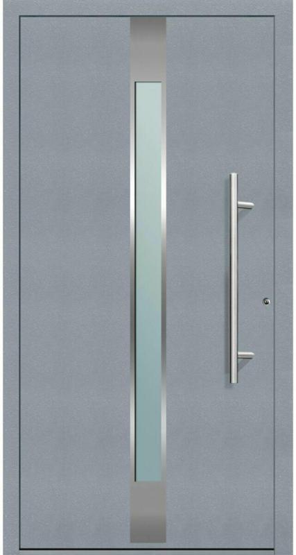 "Aluminium Sicherheits-Haustür ""Rimini Exklusiv"", 75mm, grau, 100x210 cm, Anschlag rechts, inkl. Griffset 100 cm | rechts"