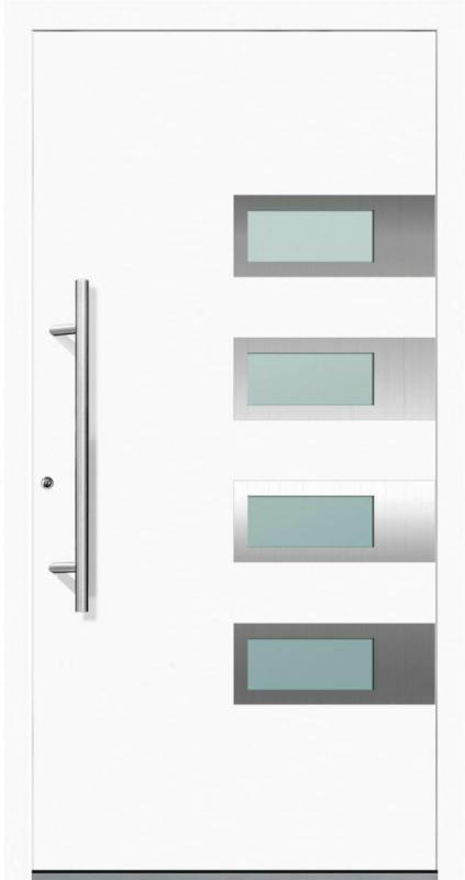 """Aluminium Sicherheits-Haustür """"Neapel Exklusiv"""", 75mm, weiß, 110x210 cm, Anschlag links, RC2-zertifiziert, inkl. Griffset Links"""