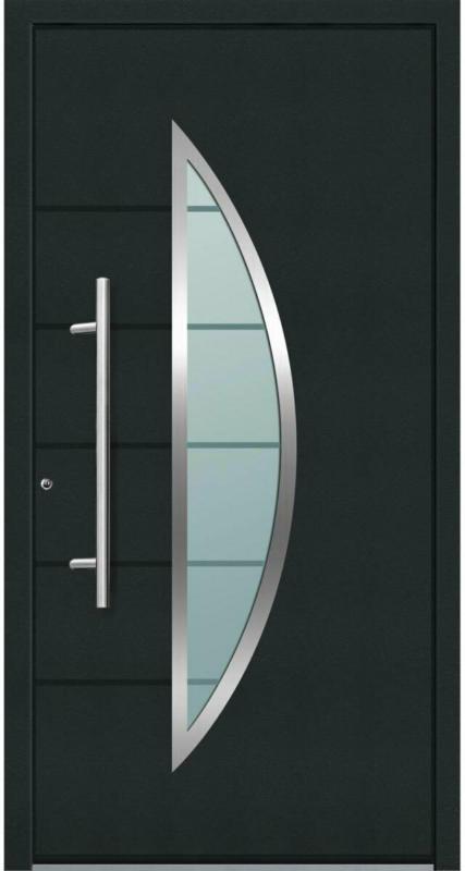 "Aluminium Sicherheits-Haustür ""Sassari Superior"", 60mm, anthrazit, 110x210 cm, Anschlag links, RC2-zertifiziert, inkl. Griffset Links"