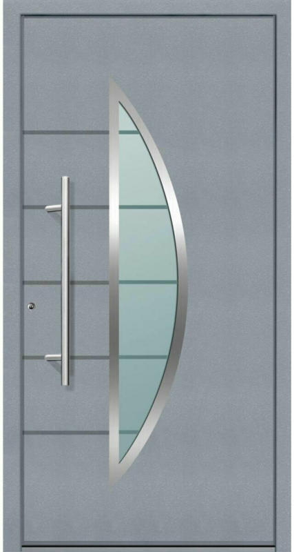 "Aluminium Sicherheits-Haustür ""Sassari Superior"", 60mm, grau, 100x210 cm, Anschlag links, inkl. Griffset links"
