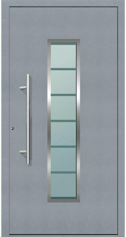 "Aluminium Sicherheits-Haustür ""Bergamo Exklusiv"", 75mm, grau, 100x210 cm, Anschlag rechts, inkl. Griffset 100 cm   rechts"