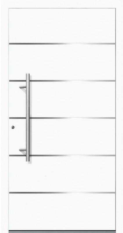 """Aluminium Sicherheits-Haustür """"Livorno Superior"""", 60mm, weiß, 110x210 cm, Anschlag links, RC2-zertifiziert, inkl. Griffset Links"""