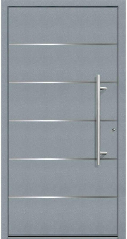 "Aluminium Sicherheits-Haustür ""Livorno Exklusiv"", 75mm, grau, 110x210 cm, Anschlag rechts, RC2-zertifiziert, inkl. Griffset rechts"