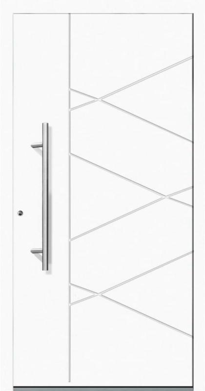"""Aluminium Sicherheits-Haustür """"Foggia Exklusiv"""", 75mm, weiß, 100x210 cm, Anschlag links, RC2-zertifiziert, inkl. Griffset Links"""