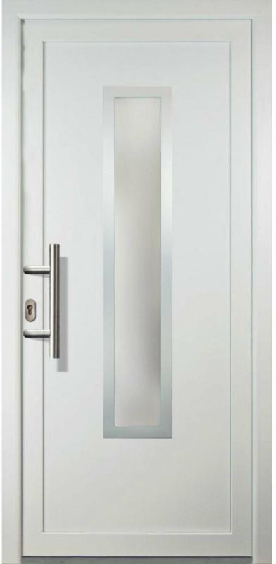"Haustür ""JM Signum"" Exklusiv PVC Mod. 32 weiß/weiß, Anschlag links, 98x208 cm Links"